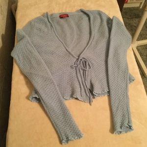 Sundance blue front tie cashmere sweater